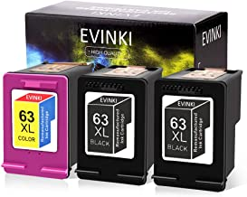EVINKI Remanufactured Ink Cartridge Replacement with Upgraded Chip,Show The Ink Levels,Ink Cartridge F6U64AN F6U63AN for HP 63XL 63 XL for Envy 4520 4516 DeskJet 1112(2 Black,1 Tri-Color,3-Pack)