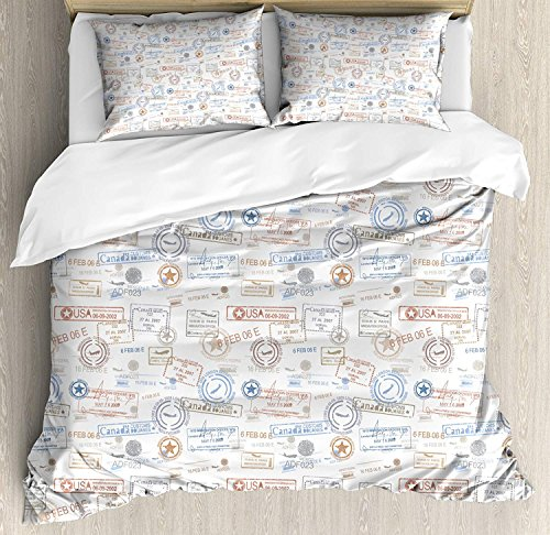 Travel Duvet Cover Full, Microfiber 4pcs Bedding Duvet Cover Set, Vintage Old Rubber Stamps Tourist Passport Visa Certificate Vacation Holiday Theme Comforter Cover Set with Zipper Closure