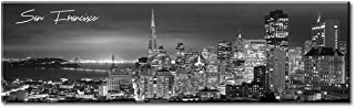DJSYLIFE Canvas Wall Art - Black and White Skyline Wall Panoramic San Francisco Cityscape Picture Wall Decoration for Bedroom or Office - Framed and Ready to Hang - 13.8