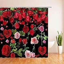 JMHX Waterproof Shower Curtain Polyester Bathroom Curtains with 12 Hooks 3D Printing Flowers Bath Curtain Bath Decor