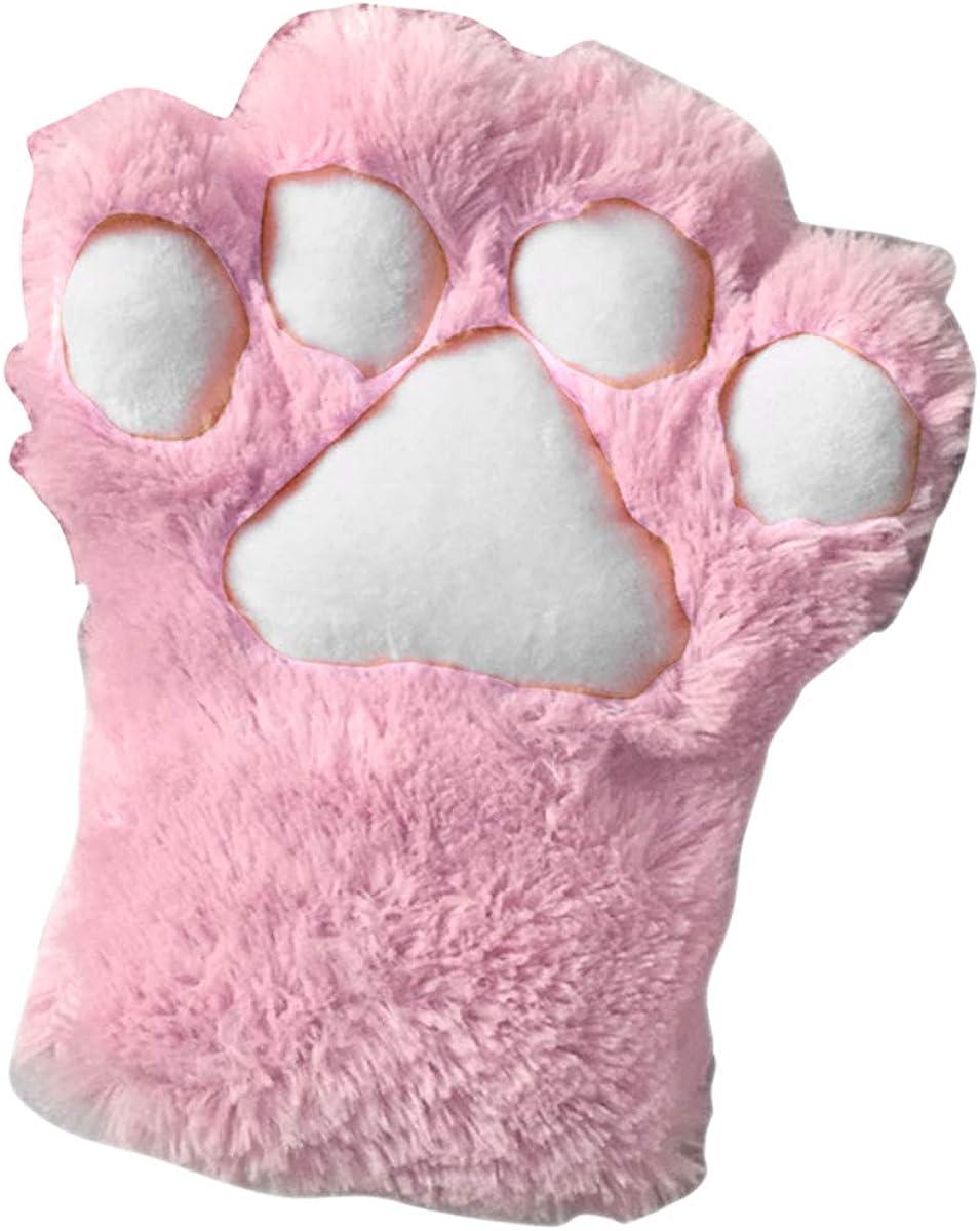 Aisheny 1pc Cute Cat Paw Fingerless Faux Fur Plush Glove for Women Girls Cosplay (Black)