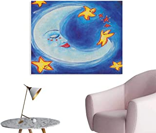 Anzhutwelve Moon Art Stickers Vibrant Happy Dancing Stars and Sleepy Moon with Facial Expressions Cool Poster Royal Blue Yellow Vermilion W28 xL20