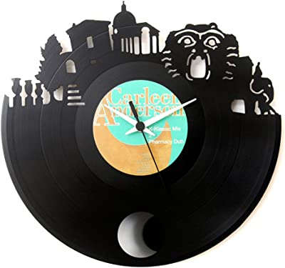 Vinyl clock Sacred Woods Monsters Park Vinyl clock with pendulum Gift Idea Vinyl,Black vinyl