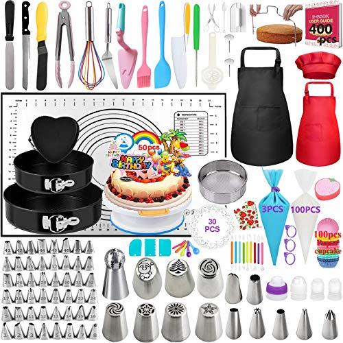 Nifogo Kuchenform Tortenplatte Drehbar Spritztüllen Set - 400 Stück Kuchen Dekorieren Set mit 3 Springform, 63 Edelstahl Spritztüllen, Kuchenplatte, 3 Silikon Spritzbeutel, Silikonmatte (C-400PCS)