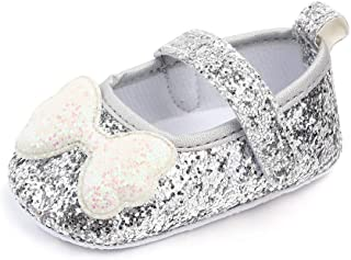 myppgg Baby Girls Mary Jane Flats Glitter Bowknot Princess Dress Crib Shoes Non-Slip for Toddler First Walkers