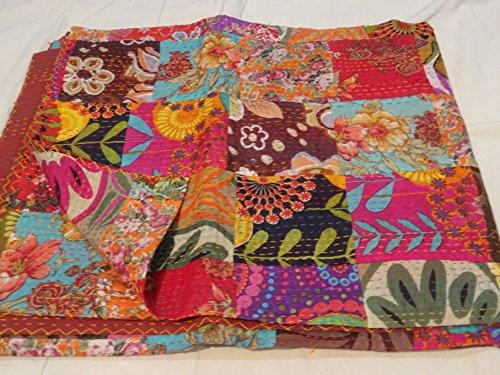 Colcha de algodón Tribal Asian Textiles, bordado Kantha hecho a mano, Queen size, reversible