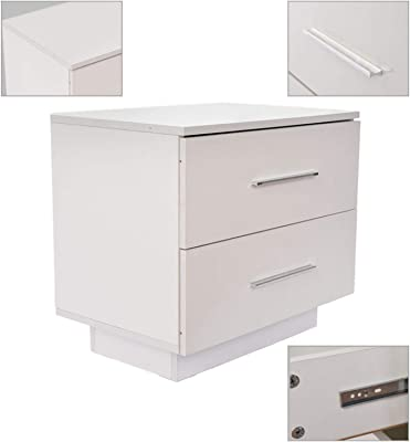 Hybei High Gloss Nightstand, Contemporary Modern 2 Drawer Night Stand Bedside End Table Side Storage Cabinet Bedroom Locker with LED Lights, Easy Assembly (White)