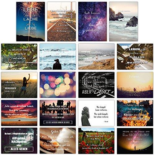 Sophies Kartenwelt - 20er Postkarten Set LEBEN mit 20 Sprüchen und Zitaten