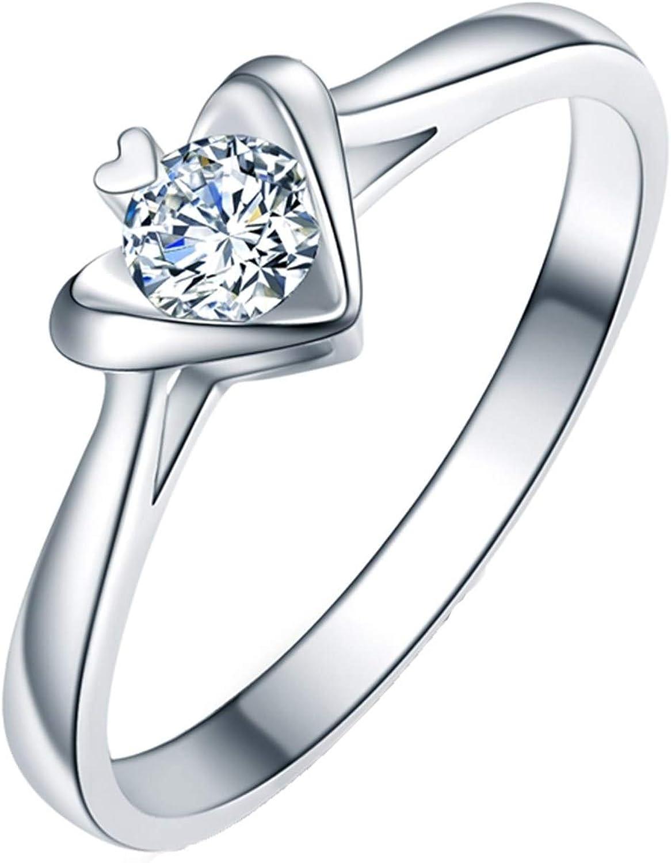 Popular brand in the Miami Mall world Epinki Women 18K White Gold Diamond Round 0.2CT Heart Ring