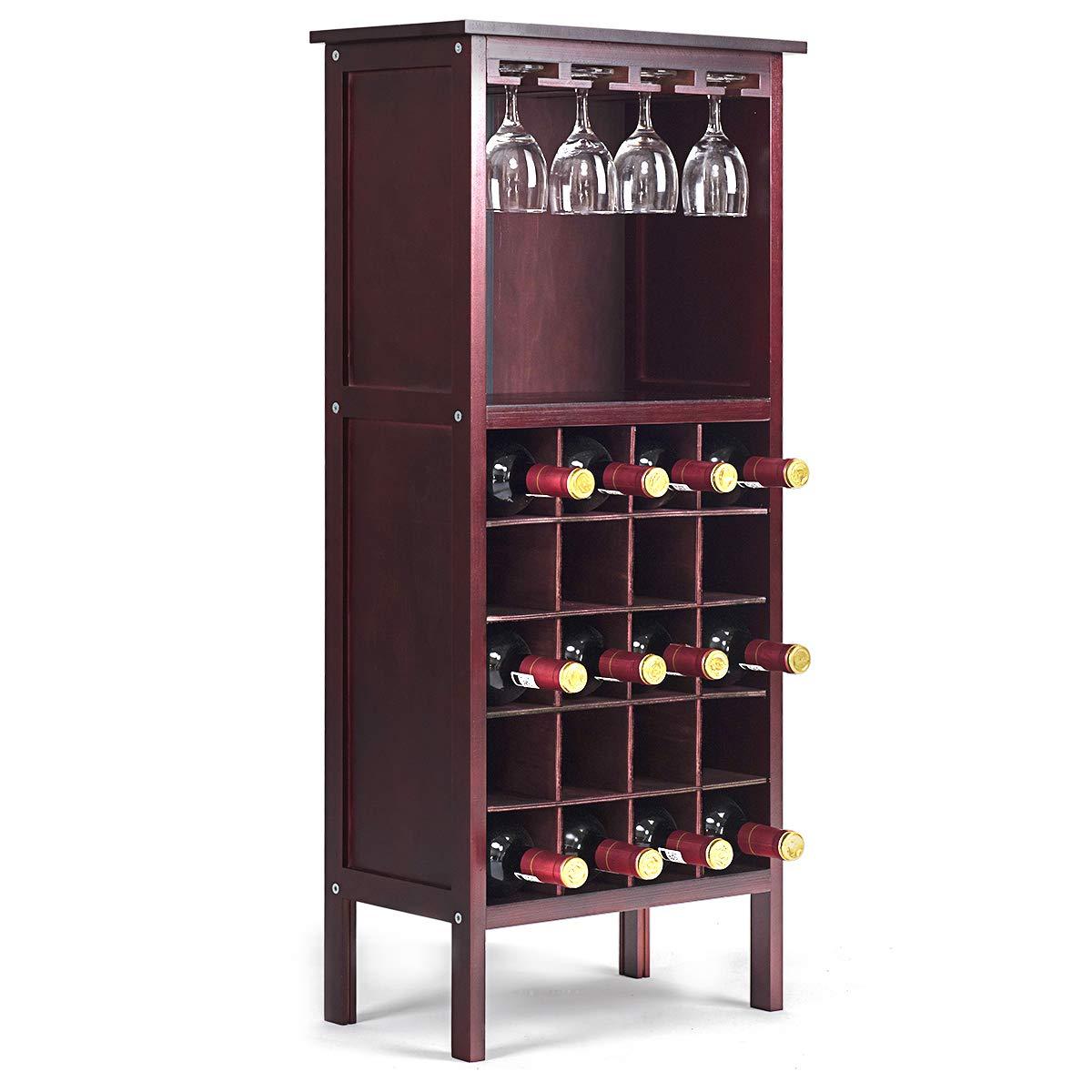 COSTWAY Weinschrank für 17 Flaschen, Weinregal Holz, Flaschenregal mit  Glasaufhänger, Weinständer, Gläserregal für Küche, Bar, Flaschenständer