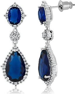Pear Shape Blue Simulated Sapphire and Zirconia Drop Women's Dangle Earrings