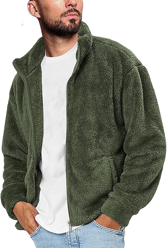 Gafeng Mens Fluffy Fuzzy Sherpa Jacket Casual Winter Fleece Stand Collar Zip up Outwear Cardigan Coat