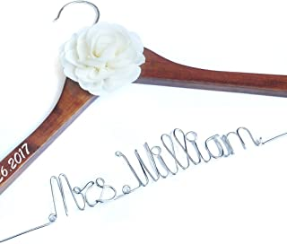 Personalized Wedding Hanger, Brides Hanger, Name Hangers, Bridesmaid Hangers, Bride Groom Hanger, Hanger with Flower