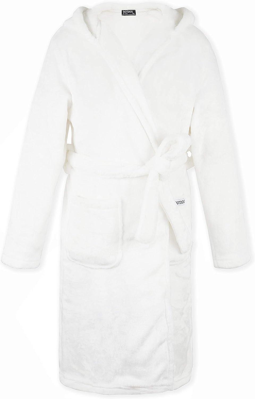 DOTDOG Kids Soft Flannel Hooded El Paso Mall Robe Classic Plus Casual Nashville-Davidson Mall Pajamas