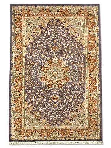 Pak Persian Rugs Handgeknüpfter Kashan Teppich, Auberginen, Wool/Art. Silk, Small, 125 X 192 cm