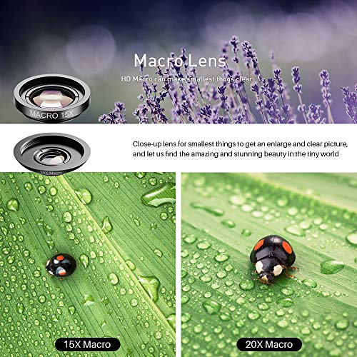 SHUTTERMOON UPGRADED Phone Camera Lens Kit for iPhone 11/Xs/R/X/8/7/6s/Smartphones/Pixel/Samsung/Android Phones Camera. 2xTele Lens Zoom Lens+Fisheye Lens+Super Wide Angle Lens&Macro Lens+CPL (5 in 1)