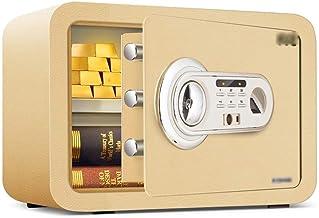 JBAMQ Home Keypad Safe - Electronic Fingerprint Password Key Security Office Mini Insurance Safe Deposit Box (Color : Gold)