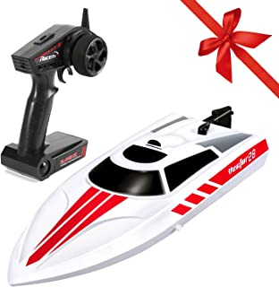 FUNTECH Remote Control Boats 2.4GHz Radio Control Boat High Speed 18+ mph Electric RC Boats for Pools,Lakes,Rivers for Kids,Adults,A Must for Outdoor Adventure