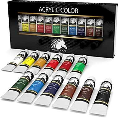 Acrylic Paint Set - 12 x 21ml Art Paints - Artists' Quality - MyArtscape