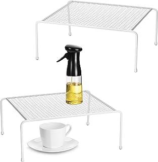 Lot de 2 organiseurs de placard de cuisine en fil métallique pour comptoir de cuisine, garde-manger, armoire, réfrigérateur