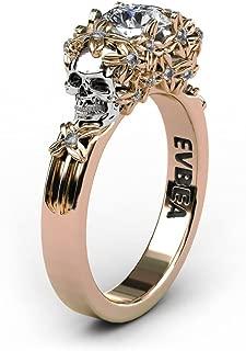 Simulated Diamond Engagement Rings Rose Gold Halo CZ Flower Skull Promise Rings