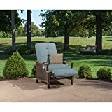 Hanover Ventura Outdoor Patio Recliner with Hand-Woven Wicker, Rust-Resistant Frames, and Thick Ocean Blue Cushions, VENTURAREC-BLU