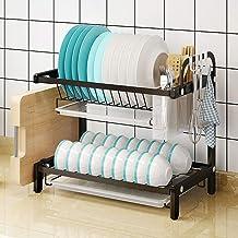 Kitchen Storage Rack Double-Layer Dish | Black 304 Stainless Steel Kitchen Rack with Drain Tray for Kitchen, Storage
