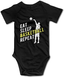 "Nuwcense Baby-Strampler mit kurzen Ärmeln, Aufschrift ""Eat Sleep Basketball Repeat"""