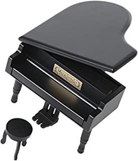 Retro Wind-Up Wooden Piano Musical Box,Wooden Simulation Gift Music Box,You Are My Sunshine Musical Box,with Silver-plating Movement in,Black