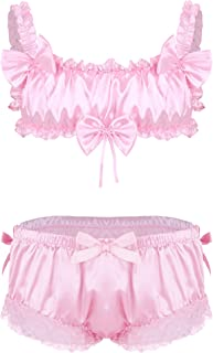 CHICTRY 2Pcs Men's Sissy Lingerie Set Ruffled Frilly Satin Sleeveless Crop Top Skirted Panties
