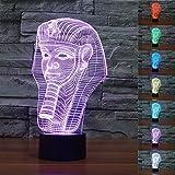 3D Illusion Faraones Lámpara luces de la noche ajustable 7 colores LED Creative Interruptor táctil estéreo visual atmósfera mesa regalo para Navida