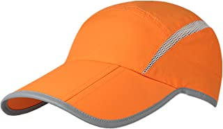 Foldable Mesh Sports Cap with Reflective Stripe Breathable Sun Runner Cap