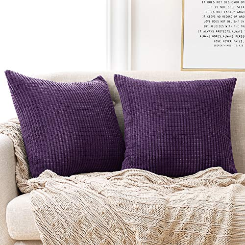 Deconovo Fundas para Cojines Decoracion de Salon 2 Piezas 50x50cm Púrpura