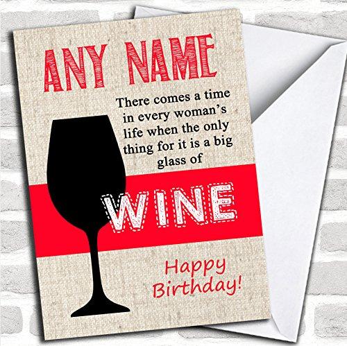 Groot glas wijn rode verjaardagskaart met envelop, volledig gepersonaliseerd, snel en gratis verzonden