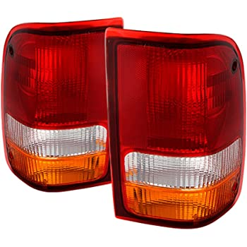 For 93-00 Ford Ranger Chrome Housing Red Lens LED Rear Brake Tail Light Lamp