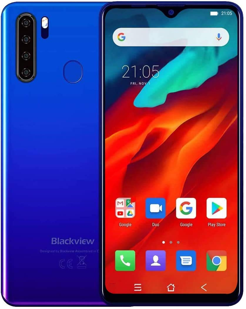 Unlocked Smartphone Blackview A80 Pro, 6.49 inch HD+, 4GB RAM+64GB ROM with 4680mAh Big Battery, 4G Dual SIM for AT&T, T-Mobile, Straight Phone,13MP Quad Rear Camera, Android 9.0 Unlocked Cell Phones