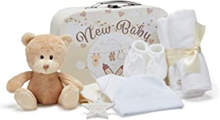 Baby Gift Set – Unisex Gift Includes Baby Clothes, Muslin Cloths, Cute Brown Teddy Bear and Hanging Plaque