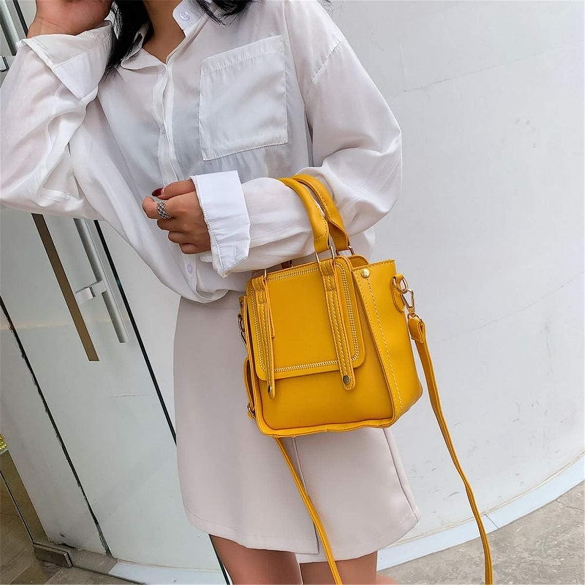 no brand Shoulder Bags Mode Casual Chic Portable Retro Hong Kong Style Unique épaule Large Sangle d'épaule Slung Tide Sac Femmes (Color : Black) Yellow