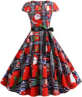 Aotifu Women's 1950s 50s 60s Vintage Retro Short Sleeves Swing Rockabilly Ball Party Dress Cocktail Party Swing Dress