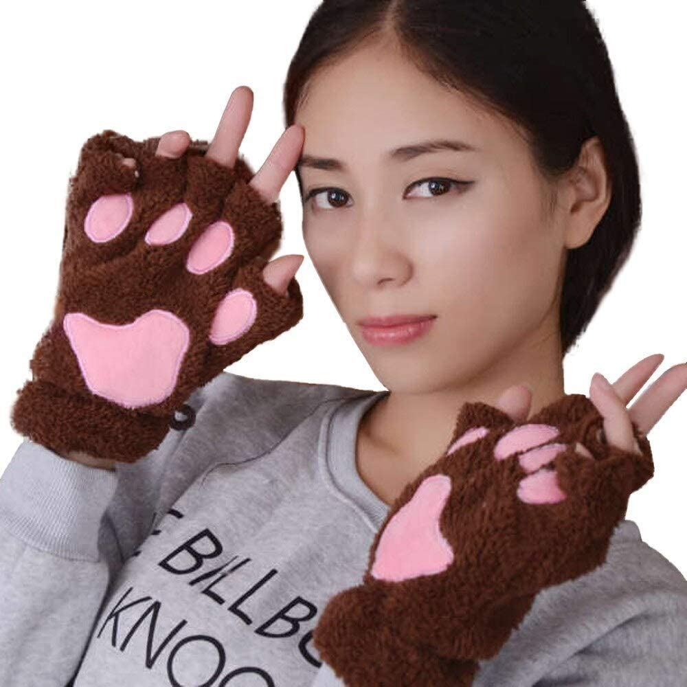 FASGION 2019 Winter Lovely Women Bear Cat Claw Paw Mitten Plush Gloves Short Finger Half Gloves Ladies Half Cover Female Gloves (Color : Coffee, Gloves Size : One Size)