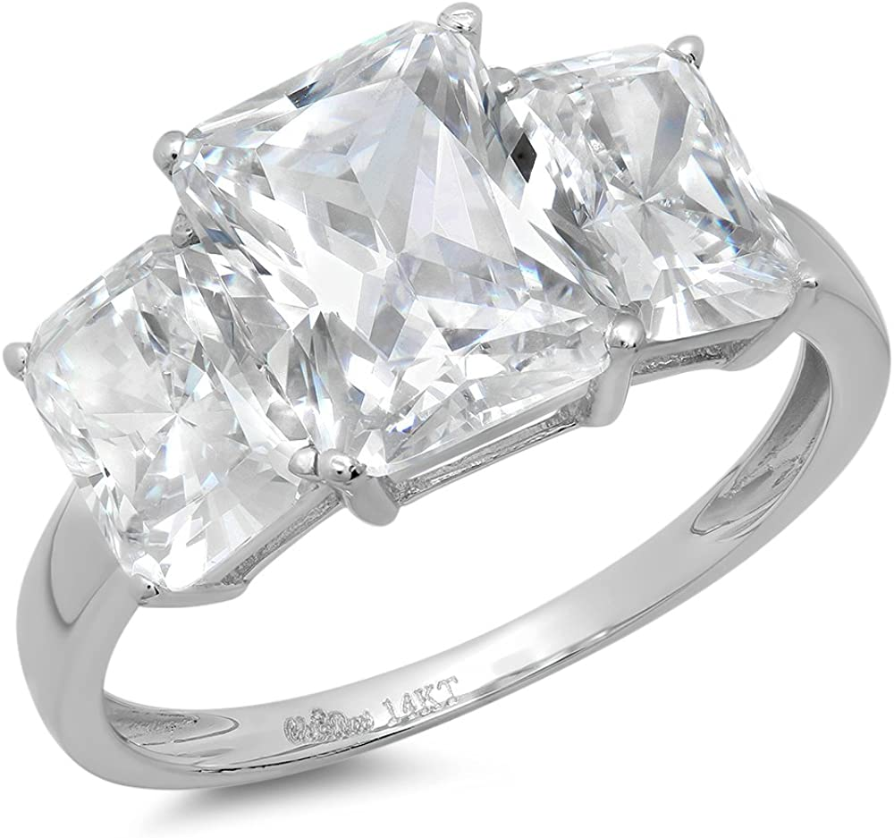 3.94ct Brilliant Emerald Cut 3 Stone Solitaire with Accent Stunning Genuine Moissanite Ideal VVS1 & Simulated Diamond Engagement Promise Statement Anniversary Bridal Wedding Ring Solid 14k White Gold