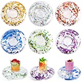 FUTUREPLUSX Inflatable Drink Holder, 12PCS Sparkling Confetti Drink Pool Floats Cup Holder Floats Inflatable Floating Coasters for Pool Party Water Fun Kids Bath Toys Shower
