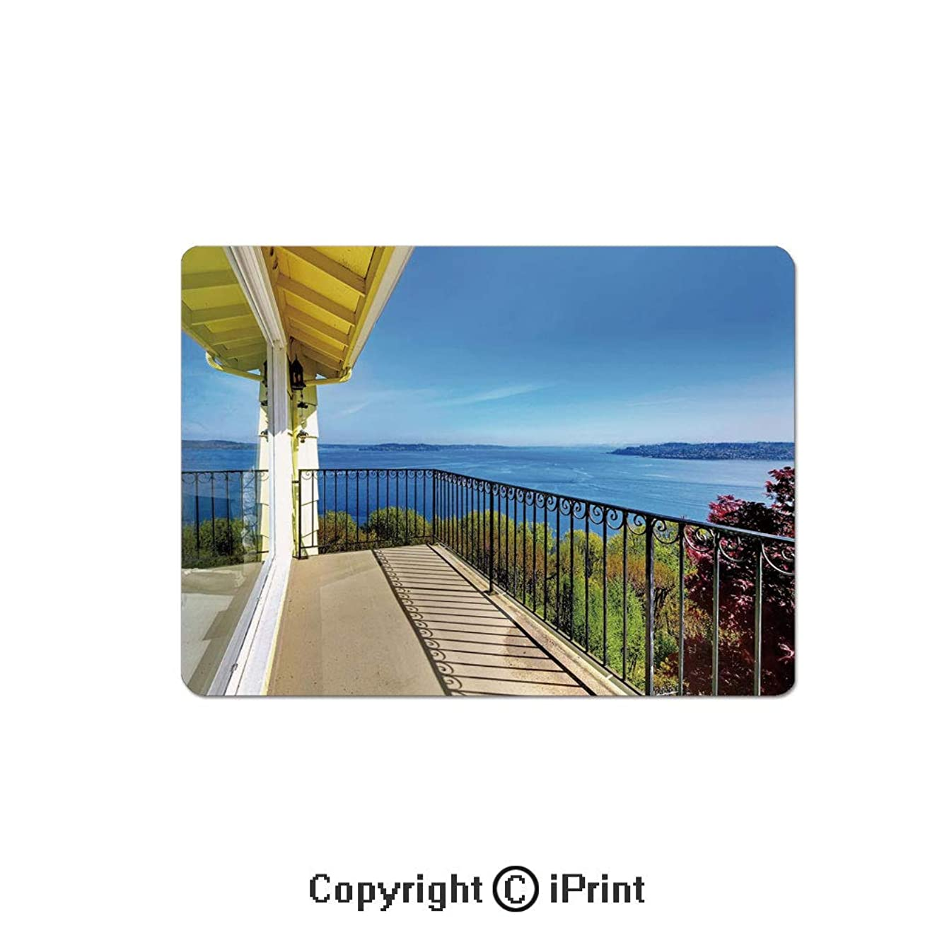 Oversized Mouse Pad,House Balcony in Summer Sunny Day Ocean Seascape Art Photo Gaming Keyboard Pad,9.8x11.8 inch Non-Slip Office Computer Desk Mat,Light Brown Blue and Green