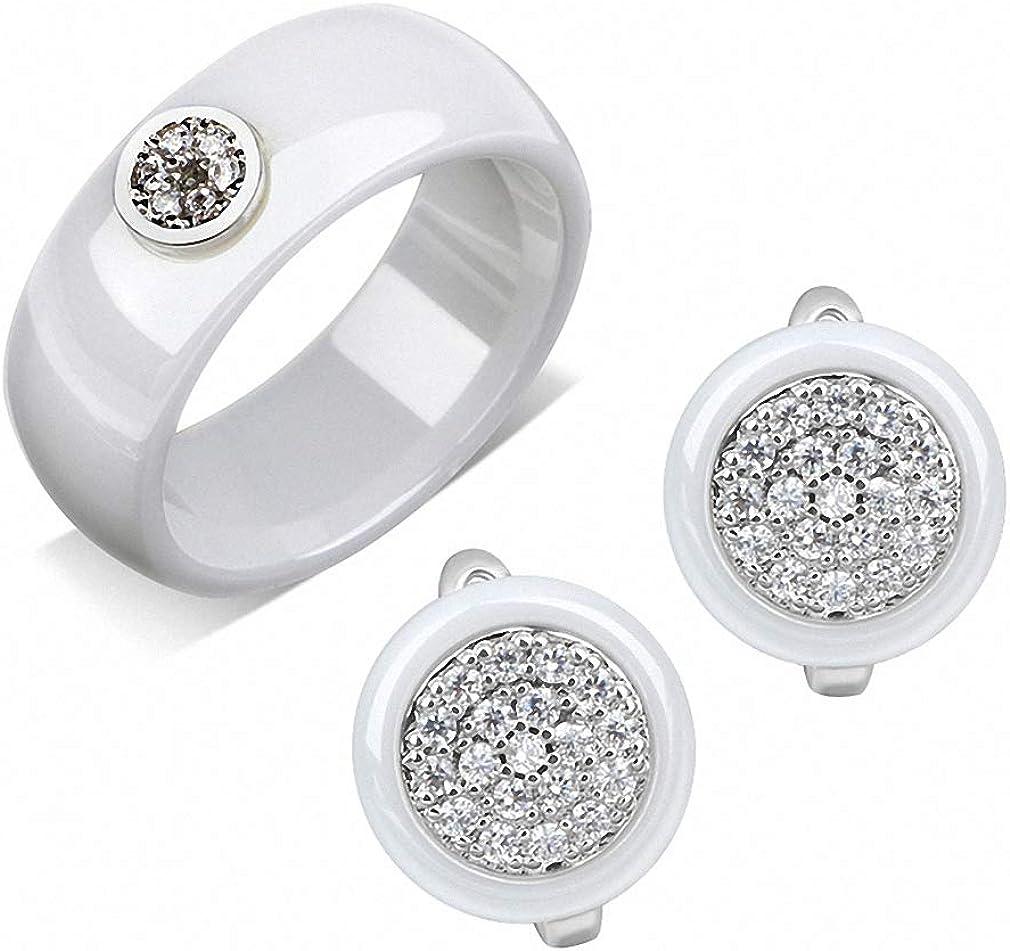 Elegant Formal Dress Jewelry Sets Circle Shape CZ Rhinestone Ceramic Rings Stud Earrings Jewelry Sets