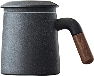 Sandalwood handle Tea Mug, Chinese Ceramic Tea Cup, with Infuser and Lid, 13 oz, Matte Grey