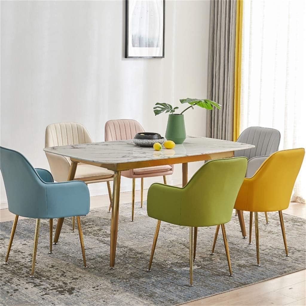 Chaises de Salle à Manger rembourrées en Velours avec Chaise de Salon, piètement en métal au Fini doré, Style Contemporain (7 Couleurs) Blue