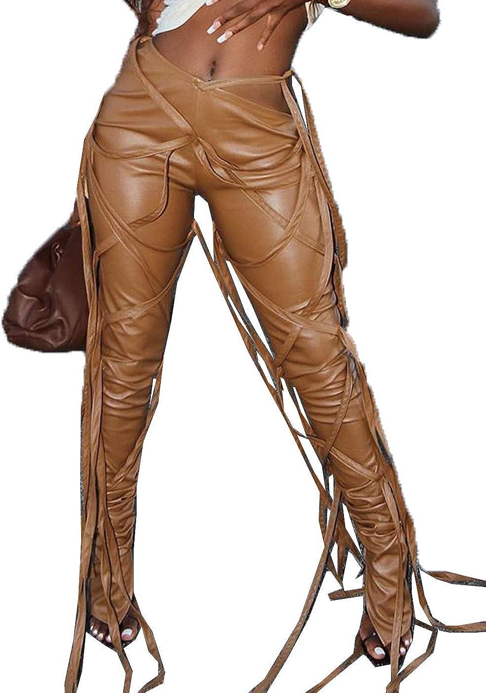 Cocoinsity Womens Skinny Pants High Waisted PU Bandage Clubwear Ankle Trousers