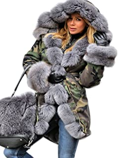 Roiii Womens Hooded Camouflage Warm Winter Coats Faux Fur Jacket Parka Overcoat