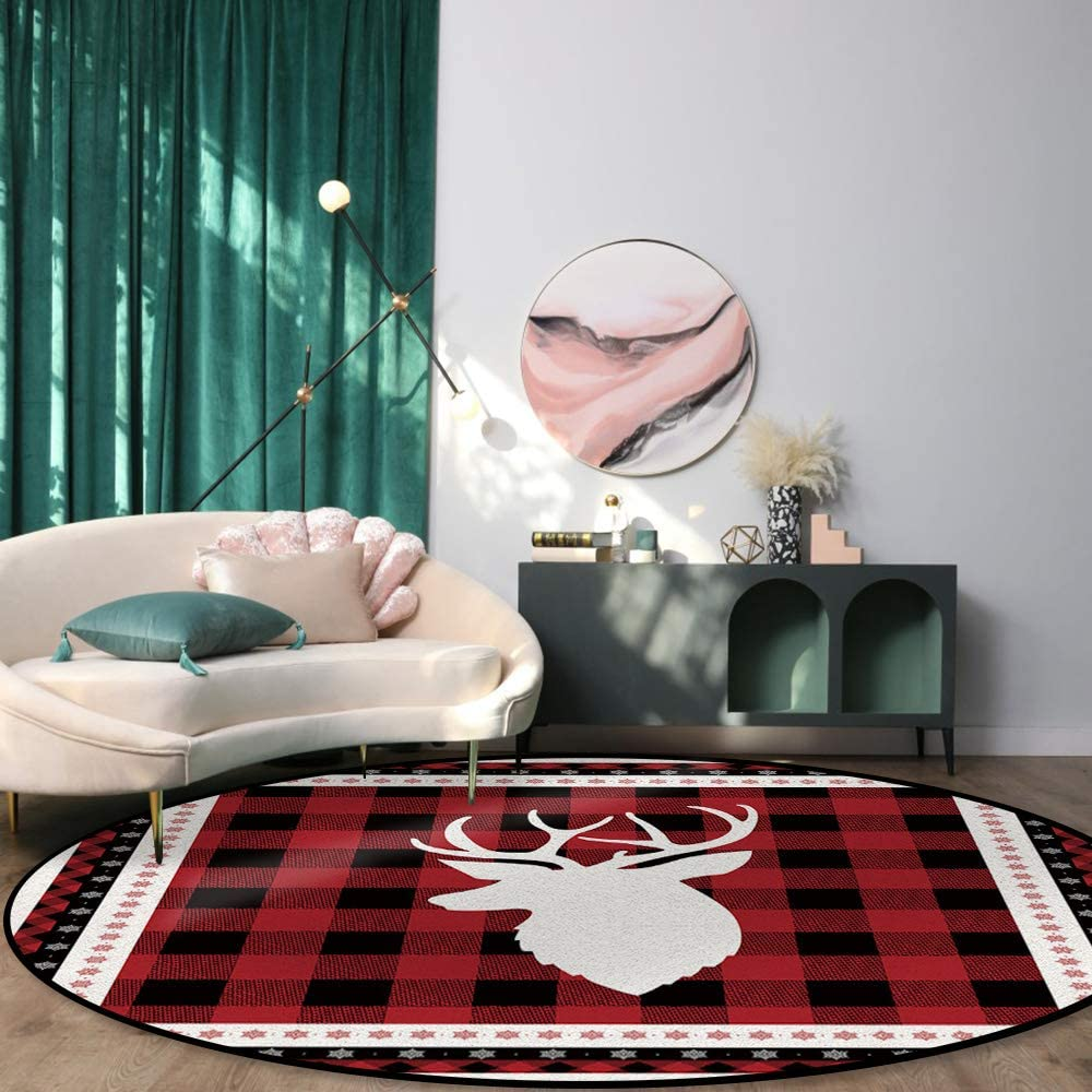 Max 48% OFF Round Rug for Dining Room Bedroom Snowflake Head White Discount mail order Non-S Elk