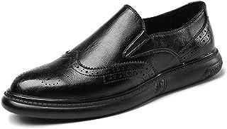 Sygjal Men's Fashion Oxford Casual New Style Thick Bottom Convenient Slip On Comfortable Brogue Shoes Black (Color : Black, Size : 38 EU)